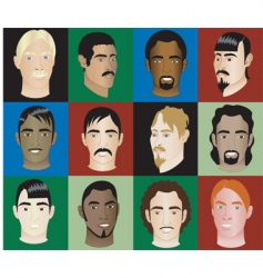 men faces vector image