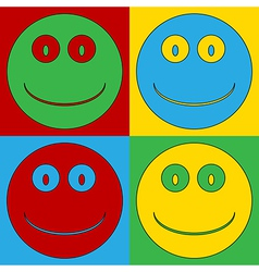 Pop art smile face icons vector