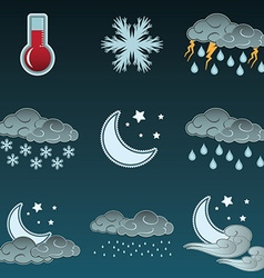Night weather colour icons set vector