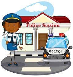 Police officer working at police station vector