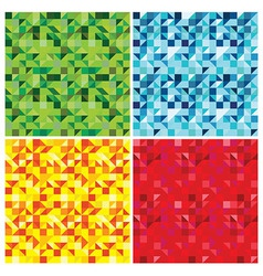 set of triangle abstract seamless patterns - vector image