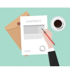 Sign contract on paper document vector
