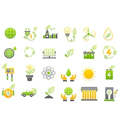 Eco yellow green icons set vector