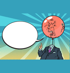 Angry bloated red boss bubble vector