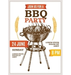 Barbecue party poster hand draw sketch vector