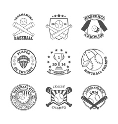 Baseball labels icons set vector