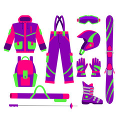 big set of flat style skiing objects vector image vector image