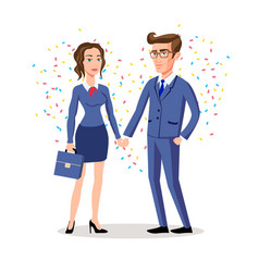 business man and woman shaking hands business vector image vector image