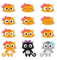 Cartoon cat emotions vector