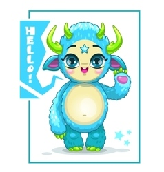 Cartoon cute blue monster vector