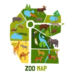 Cartoon zoo map with animals vector