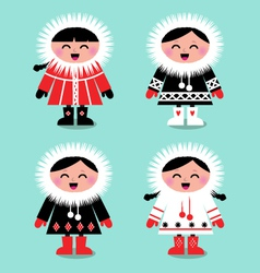 Cute eskimo kids vector