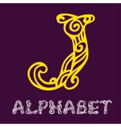 Doodle hand drawn sketch alphabet letter j vector