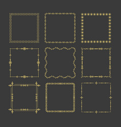 golden christmas square frames emblem icons set vector image