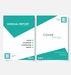Green square annual report cover design template vector