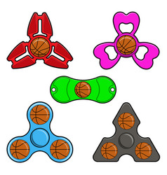 hand spinner toys with basketball ball flat vector image vector image