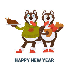 Happy new year 2018 dogs cartoon with christmas vector