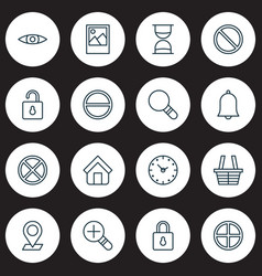 icons set collection of safeguard glance unlock vector image