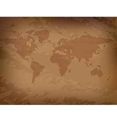 Map of the world on brown grungy background vector