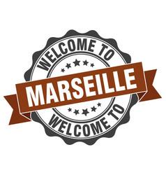 Marseille round ribbon seal vector