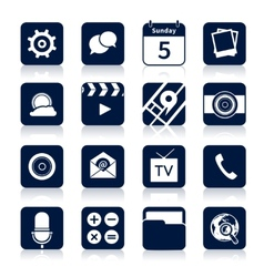 Mobile applications icons black vector