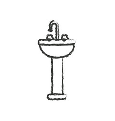 Monochrome blurred silhouette of washbasin with vector