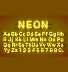 neon city color yellow font english alphabet vector image vector image