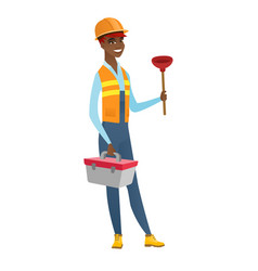 Plumber holding plunger and tool box vector