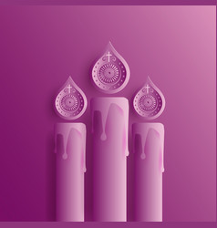Purple design with three easter candles vector