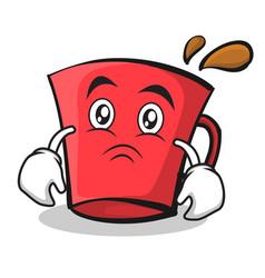 Sad face red glass character cartoon vector