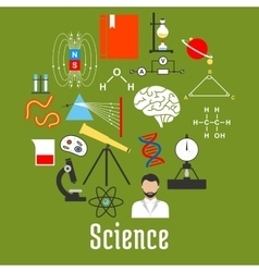 Science research icons round badge flat style vector image vector image