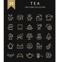 Set flat line icons tea vector