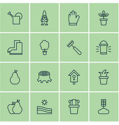 set of 16 holticulture icons includes rake hang vector image vector image