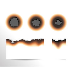 Set of scorched piece of paper and burnt holes on vector