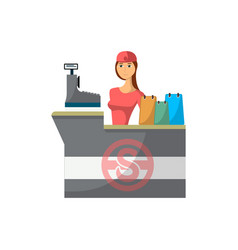 supermarket store counter desk with cashier icon vector image