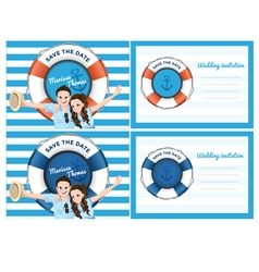 Wedding card invitation in blue sea theme vector