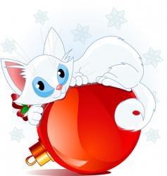 white christmas cat vector image