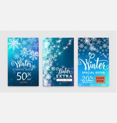 winter poster set color sale background design vector image