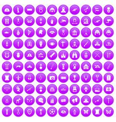 100 museum icons set purple vector