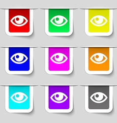 Eye icon sign set of multicolored modern labels vector