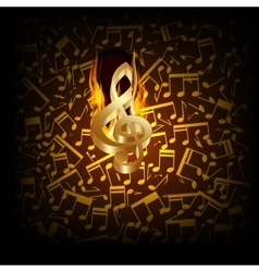 Musical background fire break with a treble clef vector