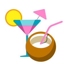Summer relax exotic cocktails flat icon vector
