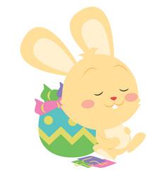 Happy yellow bunny character art vector