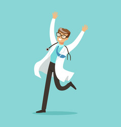 Happy doctor character jumping with arms raised vector