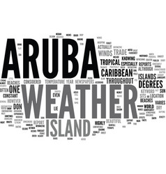 Aruba weather text background word cloud concept vector