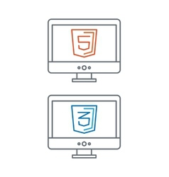 Line of web development icons html vector