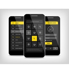Mobile phones ui yellow buttons vector