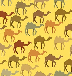 Camels seamless pattern background of desert vector