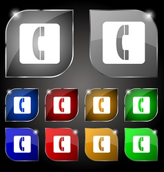 Handset icon sign set of ten colorful buttons with vector