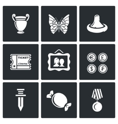 The hobby of collecting icons set vector image